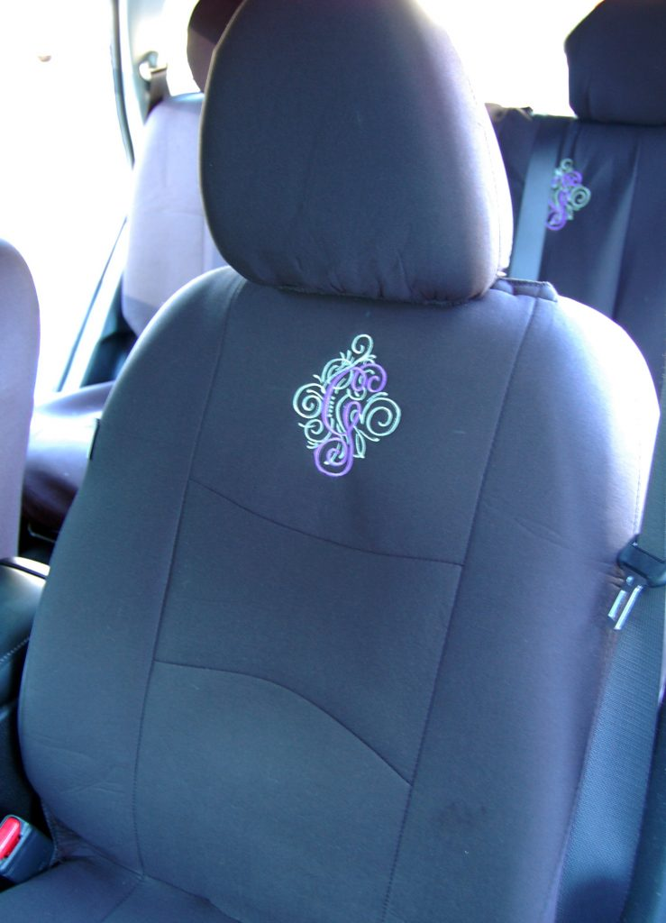 Fun Easy Embroidered Monogram for your Car, www.moderngillie.com