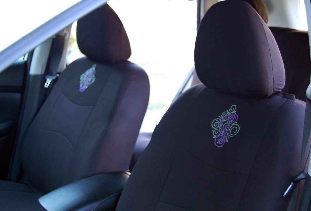 Fun Easy Embroidered Monogram for your Car, www.moderngillie.com, machine embroidery