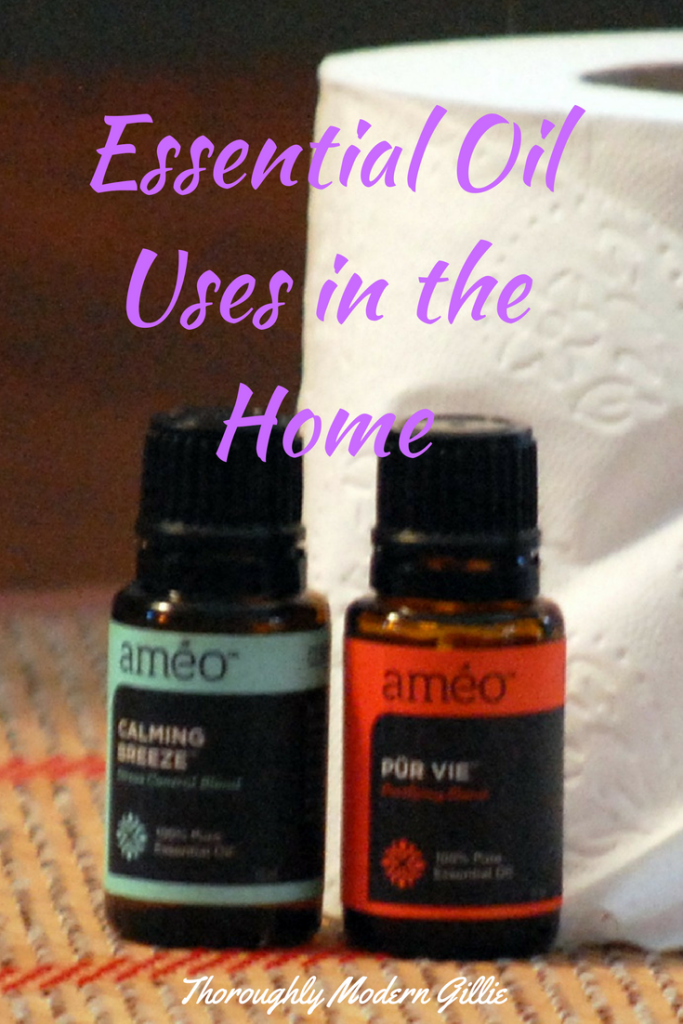 Essential Oils for the Home pinterest image with test overlay, www.moderngillie.com