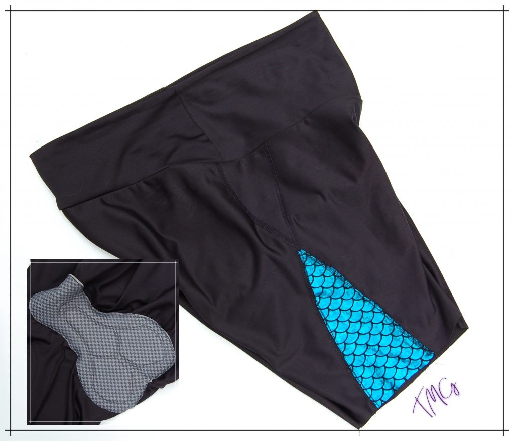 Bike shorts with view of chamois